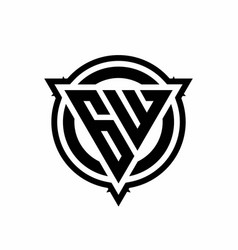 gw logo with triangle shape and circle vector image