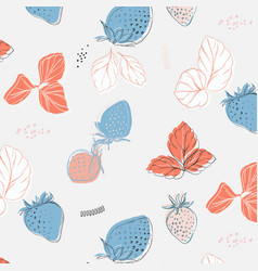 hand drawn pattern with strawberries and leaves vector image