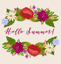 hello summer background with cartoon flowers vector image
