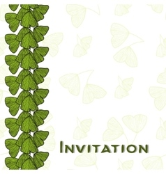 Invitation card with leaves of ginkgo biloba vector