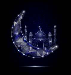 islamic mosque moon geometric polygonal vector image