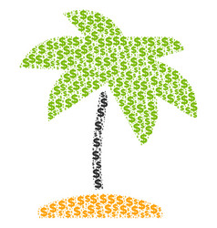 island tropic palm composition of dollar and dots vector image