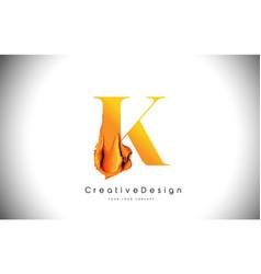 k orange letter design brush paint stroke gold vector image