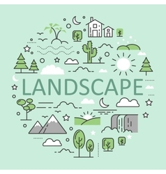 Landscape Nature Line Art Thin Icons vector