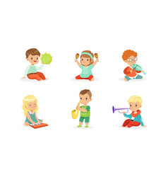 Little kids playing musical instruments vector