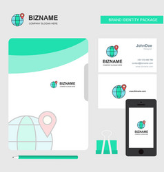 location on globe business logo file cover vector image