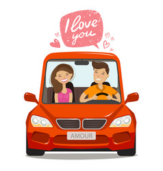 loving couple riding on car love concept cartoon vector image