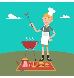 Man doing barbecue on picnic summer grill party vector
