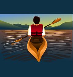 Man riding a kayak in lake vector