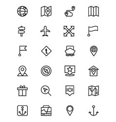 Map and Navigation Line Icons 4 vector image