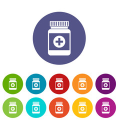 medicine bottle set icons vector image