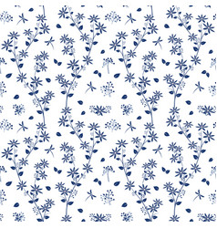 monotone on blue shade flowers garden pattern vector image