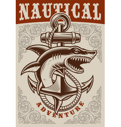 Nautical vintage poster with anchor and shark vector