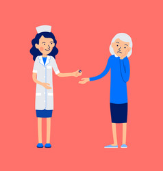 nurse and patient woman doctor gives sick tablet vector image