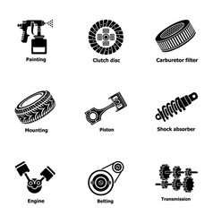Oil repair icons set simple style vector