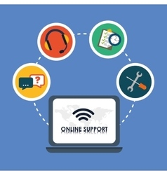 Online Support and laptop design vector