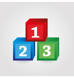 Paper red green blue bricks with numbers eps10 vector