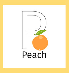peach and letter p coloring page vector image