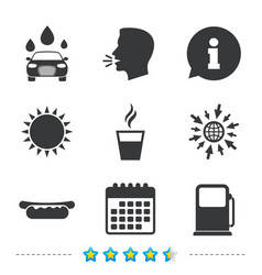 Petrol or gas station services icons car wash vector