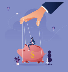 piggy bank being controlled puppeteer vector image