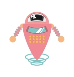 Pink robot artificial intelligence flying vector