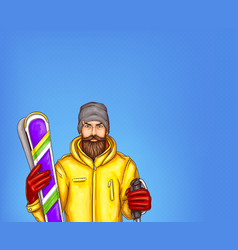pop art skier man sketch of vector image