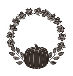 pumpkin wreath nature leaves decoration vector image