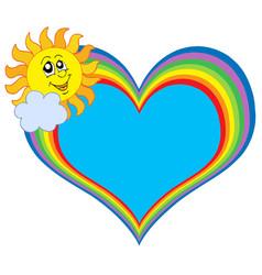 rainbow heart with sun vector image