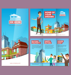 Real estate brochure printing banners with happy vector