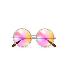 Realistic eyeglasses retro circle hipster vector