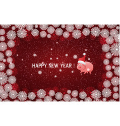 red new year background with white snowflakes vector image