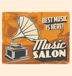 retro gramophone and drum music salon poster vector image