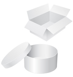 round and square white boxes blank containers vector image