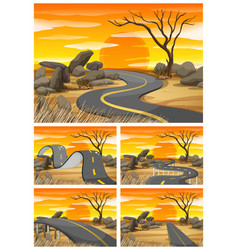 savanna field at sunset with empty roads vector image