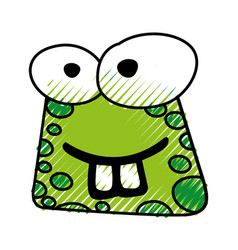 Scribble funny toad face vector