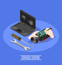 Service centre isometric composition vector