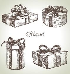 set gift boxes hand drawn vector image