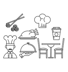 Set of restaurant and food icons black and white vector