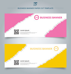 set of template paper rip web banner pink vector image