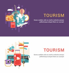 Set of Web Banners Flat Style Tourism Concept vector