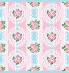 Shabby chic rose seamless pattern on pink vector