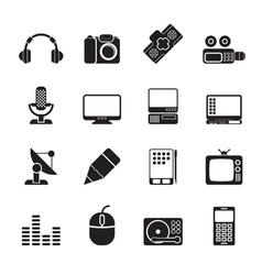Silhouette Media equipment icons vector image
