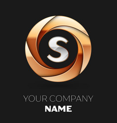 silver letter s logo in golden circle shape vector image
