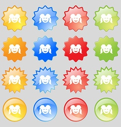 smiling girl icon sign Big set of 16 colorful vector image