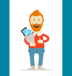 Smiling hipster with the bag vector