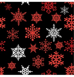 Snowflakes pattern black red vector image