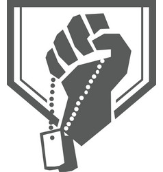 Soldier Hand Clutching Dogtag Crest Retro vector