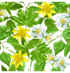 Spring green leaves and flowers seamless pattern vector