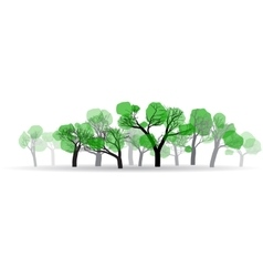 Spring woods with a small amount of green leaves vector