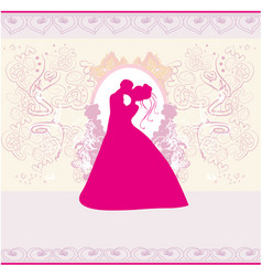 stylish wedding invitation card with kissing vector image